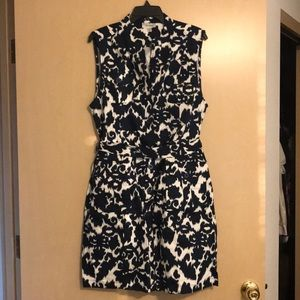 Dressbarn Navy Blue and White Shirt Dress Size 16